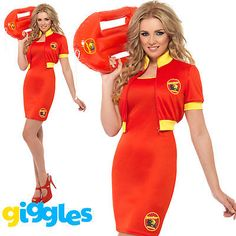 2d3d1fa77dad Baywatch Beach Lifeguard 80s 90s Adult Costume Womens Ladies Fancy Dress  Outfit