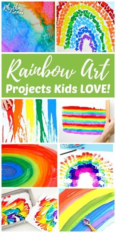 Rainbow art projects, rainbow painting ideas and rainbow crafts for toddlers, preschoolers, and kids of all ages. Make some rainbow art and crafts with your children to help brighten your day! Rainbow Painting, Rainbow Art, Colors Of The Rainbow, Kids Rainbow, Craft Projects For Kids, Arts And Crafts Projects, Craft Ideas, Fun Ideas, Martha Stewart Crafts