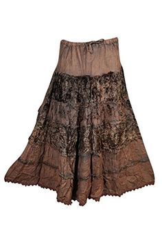 Mogul Womans Maxi Skirt Velvet Rayon A-Line Bohemian Gypsy Flare Long Skirts (Brown Bohemian Skirt, Gypsy Skirt, Bohemian Beach, Bohemian Gypsy, Bohemian Style, Neutral Tops, Beach Skirt, Boho Girl, Flare Skirt