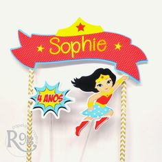 Topo de bolo Mulher Maravilha Superhero Birthday Party, 4th Birthday, Birthday Parties, Wonder Woman Birthday, Wonder Woman Party, Hero Girl, Birthday Cake Toppers, Women, Box Templates