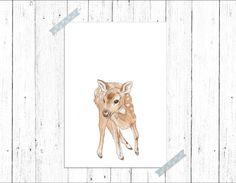 Baby Deer- Original Painting- Printed Illustration- Le Petit Deer Le petit Gallery- Print for Kids- Woodland animals