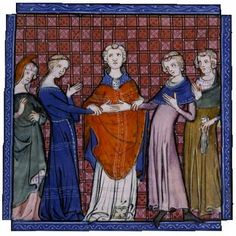 The betrothal of Alphonso of Castile and Eleanor Plantagenet. Site says before 1300, but clothes say otherwise.