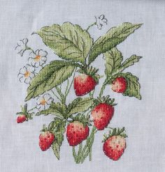 Strawberries, looks like you could pick them it!s stitched so well.