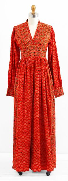 vintage 1970s dress / 70s maxi dress / Red and Gold Indian Cotton Juliet Dress