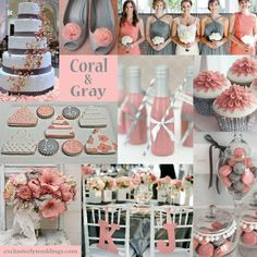Coral and Gray Wedding Colors -- love the 2 different colored bridesmaid dresses