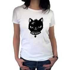 Bad Kitty White T shirt Harajuku Funny Cat T-shirt Women Tops Cartoon Graphic Tees WomenCasual Clothes Bad Cats, Bad Kitty, Harajuku, Graphic Tees, T Shirts For Women, Hoodies, Collections, Cartoon, Clothes