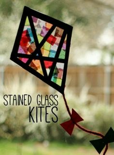 Glass Kites Window Display Tissue paper stained glass kites for kids; Benjamin Franklin unitTissue paper stained glass kites for kids; Preschool Crafts, Fun Crafts, Arts And Crafts, Spring Theme, Spring Art, Kites For Kids, Art For Kids, Big Kids, Spring Crafts For Kids