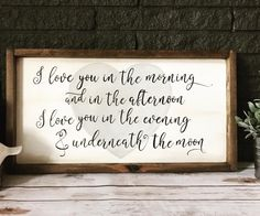 Hand-Painted Wooden Sign, Love You in the Morning