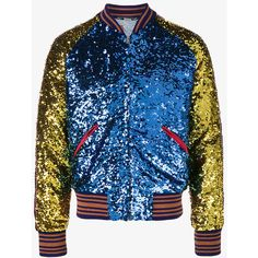 Gucci Loved Sequin Bomber Jacket (21.350 BRL) ❤ liked on Polyvore featuring men's fashion, men's clothing, men's outerwear, men's jackets, multicolour, mens embroidered jacket, gucci mens jacket, mens red jacket, mens zip up jackets and mens red bomber jacket