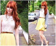 Vintage Pleated Skirt, H Belt, Topshop Lace Top, Topshop Cardigan, Vintage Bag, Topshop Shoes