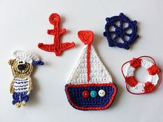 Nautical crochet applique embellish motif  navy blue red от TomToy, $3.00