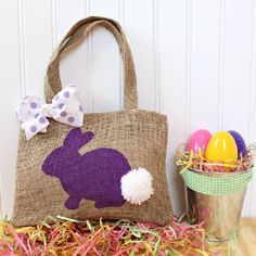 This adorable DIY Burlap Bunny Bag can be used as a Easter basket, treat bag, or a purse for kids.