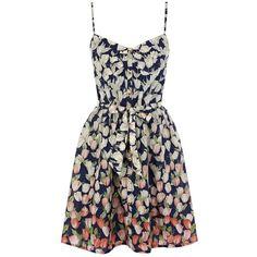 Oasis Tulip Print Sundress, Multi ($22) ❤ liked on Polyvore featuring dresses, vestidos, robes, short dresses, short sleeve dress, button down dress, flare sleeve dress, sun dress and sweetheart dress