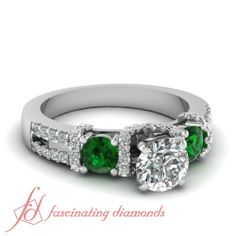 Round Diamonds and Green Emerald 14K White Gold Side Stone Engagement Ring in Floating Prong Setting || Sparkle Coronet Ring