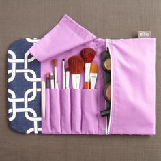All-in-One Brush Roll & Makeup Bag - Navy with Purple – effie handmade