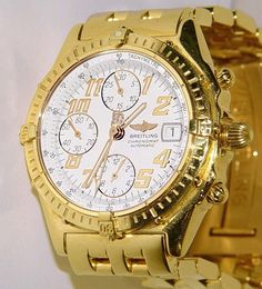 Mens Breitling Chronomat Automatic White Dial Solid 18k Gold
