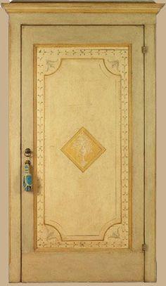 Riproduzione di una porta di fine '700 con dipinti di soggetto neoclassico. Realizzata in pioppo di trave vecchia e pioppo nuovo.