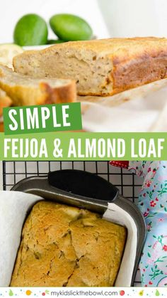 Feijoa and Almond Loaf Uses Lots of Feijoas! - Feijoa almond loaf, a feijoa recipe for a moist loaf similar to banana bread, low in sugar and deli - Healthy Muffin Recipes, Loaf Recipes, Easy Healthy Breakfast, Healthy Meals For Kids, Kids Meals, Baking Recipes, Dessert Recipes, Easy Meals, Yummy Recipes