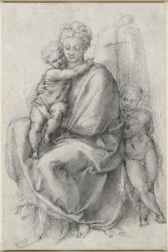 Michelangelo Buonarroti, 1475-1564, Italian, Madonna and Child with the Infant St John (recto), c.1532.  Black chalk, 31.7 x 21 cm. Royal Collection Trust, London.  High Renaissance.