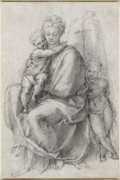 Michelangelo Buonarroti, 1475-1564, Italian, Madonna and Child with the Infant St John (recto), c.1532. Black chalk, 31.7 x 21 cm. Royal Collection Trust, London. High Renaissance.