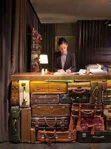 Desk made from old suitcases