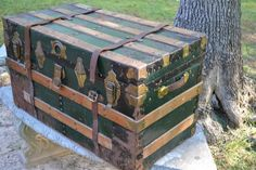 Hey, I found this really awesome Etsy listing at https://www.etsy.com/listing/188944679/antique-trunk-metal-covered-wood-green
