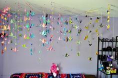 guirlandes origami, déco plafond