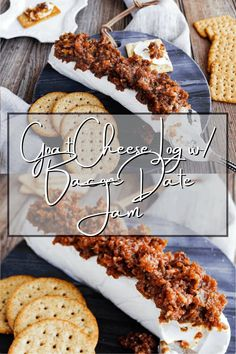 Inspired by a favorite holiday appetizer, this goat cheese log with bacon date jam provides the same satisfaction as bacon-wrapped dates stuffed with goat cheese but is so much easier. It comes together in just 20-minutes and is naturally gluten-free. #goatcheeselogwithbacondatejam #goatcheeselog #holidayappetizer #bacondatejam #goatcheeseappetizer
