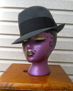 1950's vintage  Sexy classic  Grey felt fedora man's hat medium