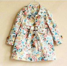 Image of #1950Vintage Floral Print Belted Trench Jacket