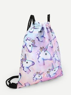 Shop Unicorn Print Drawstring Backpack at ROMWE, discover more fashion styles online. Unicorn Print, Graphic Tank, Backpacks, Drawstring Backpack, Colors, Bags, Casual, Products, Fashion