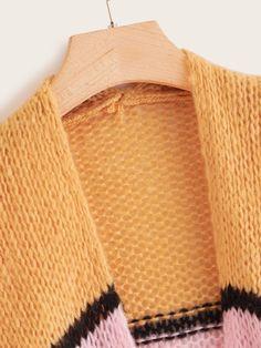 Plus Colorblock Chunky Knit Cardigan , Plus Size Cardigans, Chunky Knit Cardigan, Casual Boots, Color Blocking, Retro Vintage, Vintage Fashion, Tags, Knitting, Spring