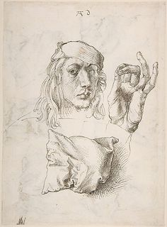 Albrecht Dürer (1471-1528) - 1493: Self-portrait, Study of a Hand and a Pillow (recto); Six Studies of Pillows (verso), Pen and brown ink