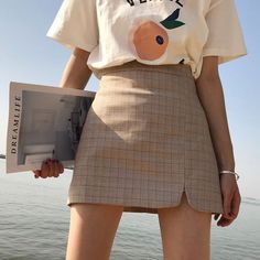 Summer Korean version of the high waist a word skirt open plaid retro plaid skirt 2018 new package hip skirt student skirt female Plaid skirt outfits ideas what to wear plaid skirts A Line Mini Skirt, Mini Skirts, Look Fashion, Fashion Outfits, Cheap Fashion, Fashion Rings, Mens Fashion, Street Fashion, Fashion Ideas