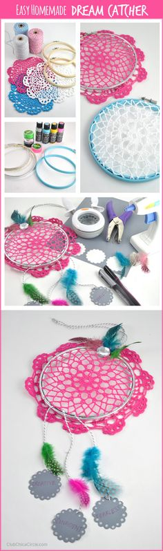 Paper Embroidery Easy Homemade Dream Catcher DIY with Embroidery Hoops and Doilies Diy With Embroidery Hoop, Paper Embroidery, Cute Crafts, Diy And Crafts, Crafts For Kids, Arts And Crafts, Homemade Dream Catchers, Diy Dream Catcher, Indie Room