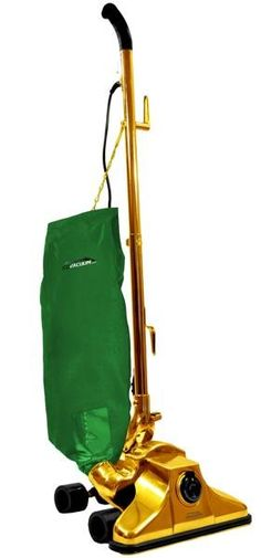 One-million-dollar, 24-karat-gold-plated vacuum cleaner:   It's being offered at an introductory discount of 0.0001%. So you can pick it up now for a mere $999,999.  The bag is hand-sewn, and you can specify the material. (May we propose Vicuna wool, reportedly the most expensive fabric in the world at $4,000 a yard?)