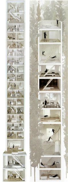 Junya Ishigami's proposal for a house in a little forest, Japan. An interesting project for a house that combines the needs of everyday living with the novelty and escape of a vacation home. The house rises a total of eleven stories; each floor is dedicated to a single, small square room. The basic functions suited for daily life are located in the bottom few floors where they are accessible to the occupants and where the majority of habitation will occur.