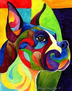 BOXER 8X10 DOG  print by Artist Sherry Shipley