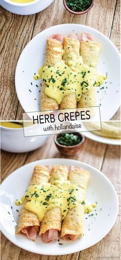 Savory Herb Crepes with Hollandaise are perfect for Easter breakfast or brunch! | www.cookingandbeer.com