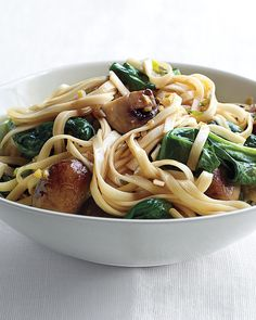 In lieu of ordering from your favorite delivery dive, dish up a lighter lo mein spiked with spinach. Stomach-soothing ginger, minced garlic, sharply flavored scallions, and toasted sesame oil lend the dish a complex flavor.