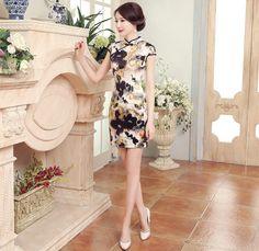 Graceful Silk Floral Mini Chinese Dress Qipao Cheongsam - iDreamMart.com