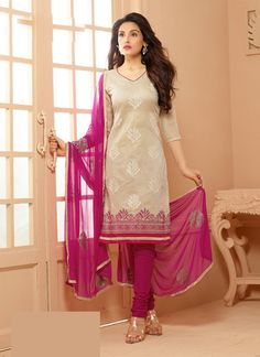 Beige Wholesale Chanderi Salwar Kameez Specially For Festival