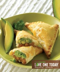 Sweet Potato and Avocado Empanadas! A flaky crust, sweet potatoes, creamy Hass avocados and poblano cream sauce make this appetizer delectable.