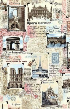 paris eiffel decoupage 'Paris Landmark Patchwork' from the 'Tres Jolie' collection by Timeless Treasures. Decoupage Vintage, Decoupage Paper, Vintage Diy, Paris Wallpaper, Galaxy Wallpaper, Wallpaper Backgrounds, Aesthetic Pastel Wallpaper, Aesthetic Wallpapers, Tour Eiffel