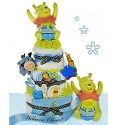 Precious Winnie the Pooh 3 Tier Diaper Cake - Pink or Blue