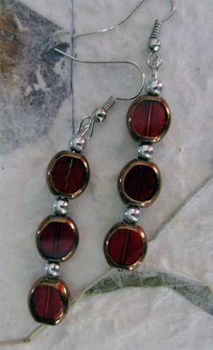 Long Ruby with Gold plating Glass Bead Earrings by designsbypbe, $10.00