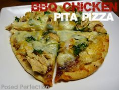Loves Bakes Good Cakes & Posed Perfection: BBQ Chicken Pita Pizzas - super easy weeknight meal idea! Pita bread used for crusts, yum!