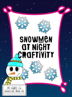 Snowmen at Night is one of the most popular winter books for kids. Holiday Activities, Book Activities, Holiday Crafts, Christmas Writing Prompts, Weather Lessons, Snowmen At Night, Kindergarten Units, Weather Unit, Next Generation Science Standards