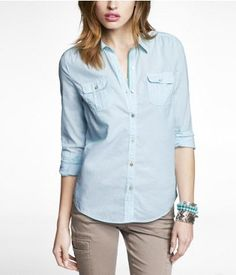 CHAMBRAY TWO POCKET EASY FIT SHIRT | Express