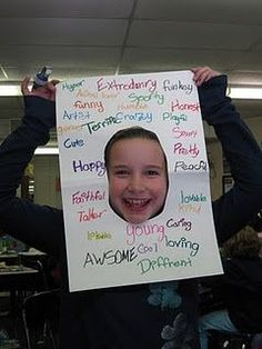 Students must find 20 adjectives that describe themselves. Awesome Beginning of School Activity! then take a picture and hang it up, HR activity